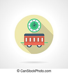 New Year in a train flat round vector icon