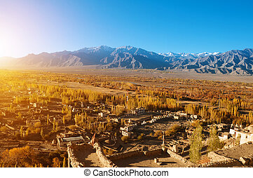 Small village at Leh - Beautiful sunrise in small village at...