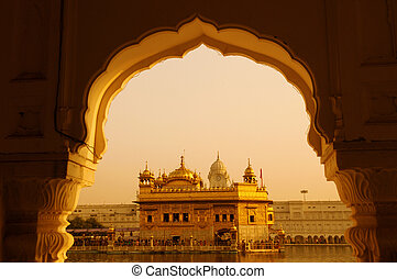 Golden Temple sunset - Amritsar Golden Temple - India....