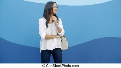 Glamorous Young Woman Standing At The Wall - Fashionable...