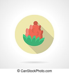 Red pine cone round flat color vector icon - Red pine cone...