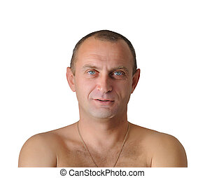 Portrait of the man with a naked torso on white background