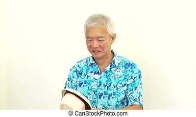 Asian senior wearing blue shirt - Asian senior man wearing...