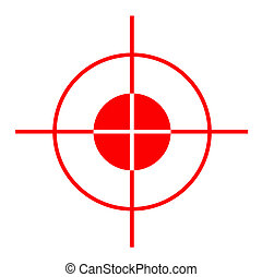 Gun sight - Red gun sight cross hairs, isolated on white...