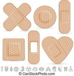 Medical adhesive bandage isolated on white background