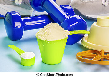 Scoops with whey protein