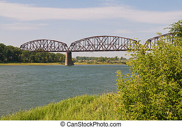 Railroad bridge over the Missouri River, Bismarck, North...