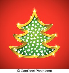 Christmas tree card with golden border