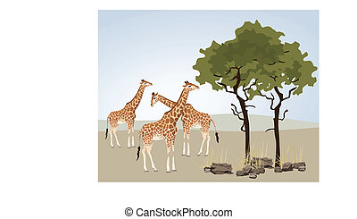 Giraffe illustration with wild landscape of Africa