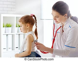 検査, 医者, 子供