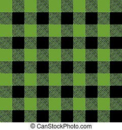 Tiled Green and Black Flannel Pattern Illustration - A...