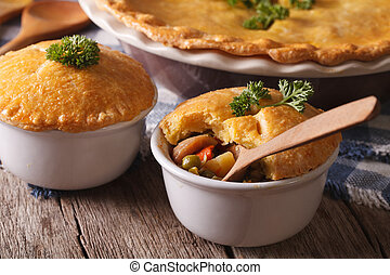 American cuisine: chicken pie with vegetables in a pot....