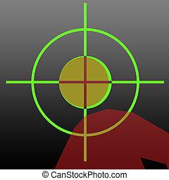Sniper rifle aiming at head