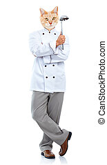 Cat chef - Ginger cat chef isolated on white background