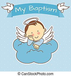 boy baptism - Angel wings on a cloud. boy baptism