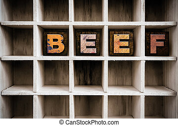 Beef Concept Wooden Letterpress Type in Draw - The word BEEF...