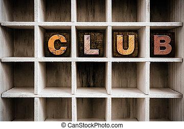 clube, conceito, madeira, Letterpress, tipo, em, desenhar,
