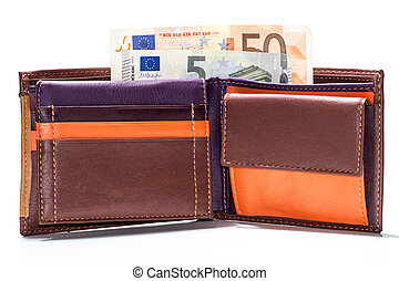 close up of euro paper money in wallet