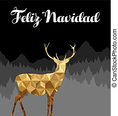 Christmas spanish deer gold low poly navidad card - Merry...