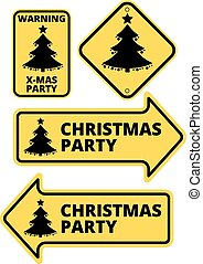 Christmas Party Humourous Yellow Road Arrow Signs Set Vector...
