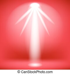 Stage Spotlight Background - White Spotlight Isolated on Red...