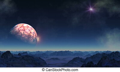 The huge planet goes into the shadows and approaches. From...