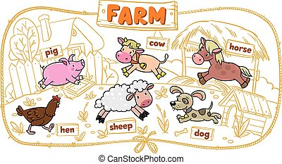 Farm animals set - Children illustration with funny farm...