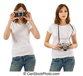 Woman with blank white shirt and camera