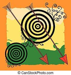 Archery on vivid background