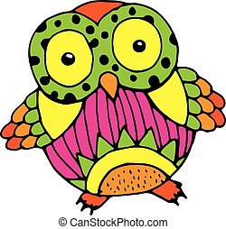 Baby owl illustration - Cute vivid owl - Funny owl...