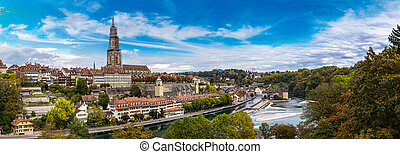 Bern and Berner Munster cathedral - Panoramic view of Bern...