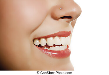 woman mouth smiling showing tooth