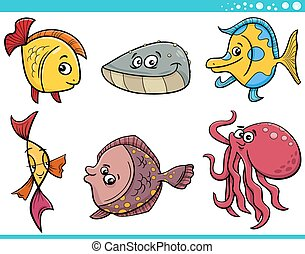sea life fish cartoon set - Cartoon Illustration of Funny...