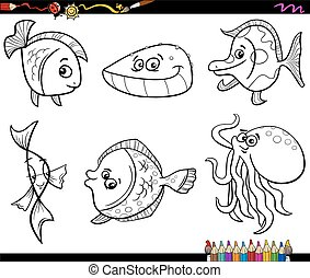 sea animals set coloring page - Black and White Cartoon...
