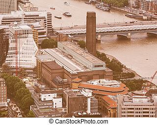 Retro looking Aerial view of London - Vintage looking Aerial...