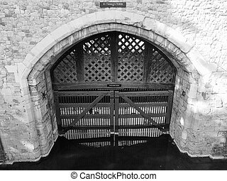 Black and white Tower of London - Traitors Gate at the Tower...