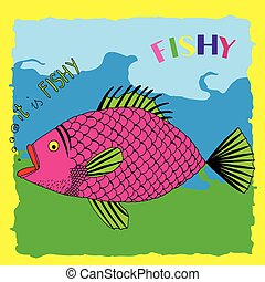 Fishy pink - Pink fish illustration