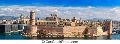 Saint Jean Castle and Cathedral de la Major in Marseille -...