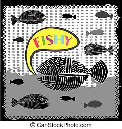 Fishy world black - Fish background