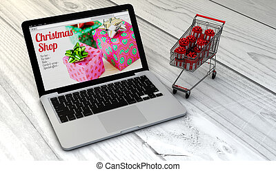 laptop and trolley christmas shopping - christmas sales...
