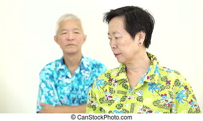 Asian senior couple fighting - Video Asian senior couple...