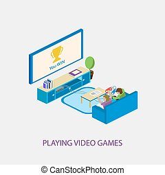Two school kids playing video games together. Vector illusytration