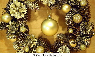 Christmas wreath of cones and balls - Christmas wreath of...
