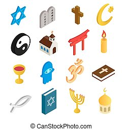 Religion isometric 3d icons set isolated on white background