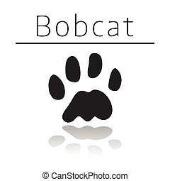 Bobcat animal track with name and reflection on white...