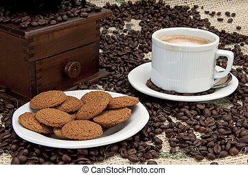 Ginger cookies and espresso coffee - Ginger cookies with...