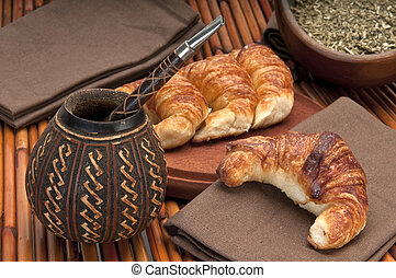 Mate and Media Luna - Calabash cup for mate and croissants,...