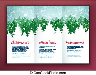 Design template with winter spruce forest - Christmas...