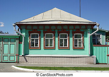 KOLOMNA, RUSSIA - June, 2012: Old wooden houses on the...