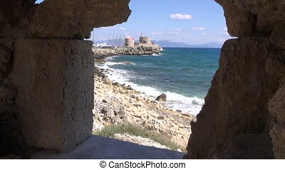 Antique Rhodes fortress in Greece by the sea filmed from...